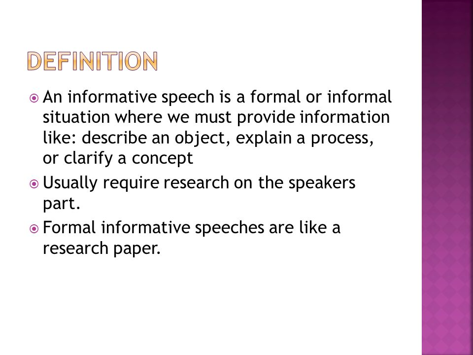 good informative speech Picking the right informative speech topic makes the future writing process much easier but how exactly can you pick the right one.