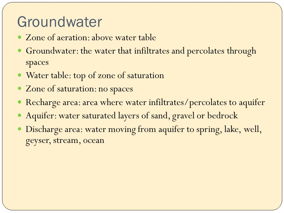 Groundwater Zone of aeration: above water table Groundwater: the water that infiltrates and percolates through spaces Water table: top of zone of saturation Zone of saturation: no spaces Recharge area: area where water infiltrates/percolates to aquifer Aquifer: water saturated layers of sand, gravel or bedrock Discharge area: water moving from aquifer to spring, lake, well, geyser, stream, ocean