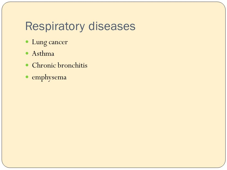 Respiratory diseases Lung cancer Asthma Chronic bronchitis emphysema