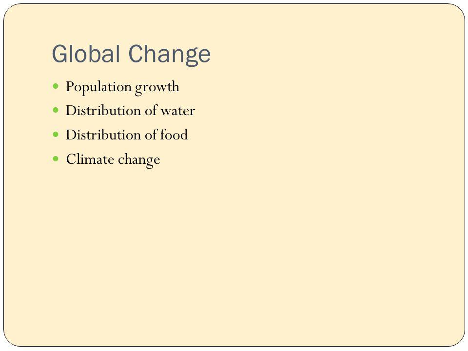 Global Change Population growth Distribution of water Distribution of food Climate change