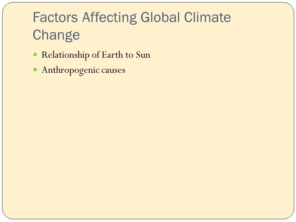 Factors Affecting Global Climate Change Relationship of Earth to Sun Anthropogenic causes