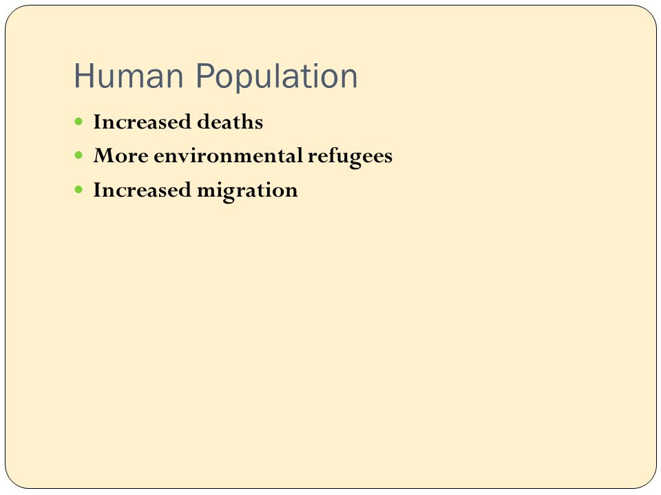 Human Population Increased deaths More environmental refugees Increased migration