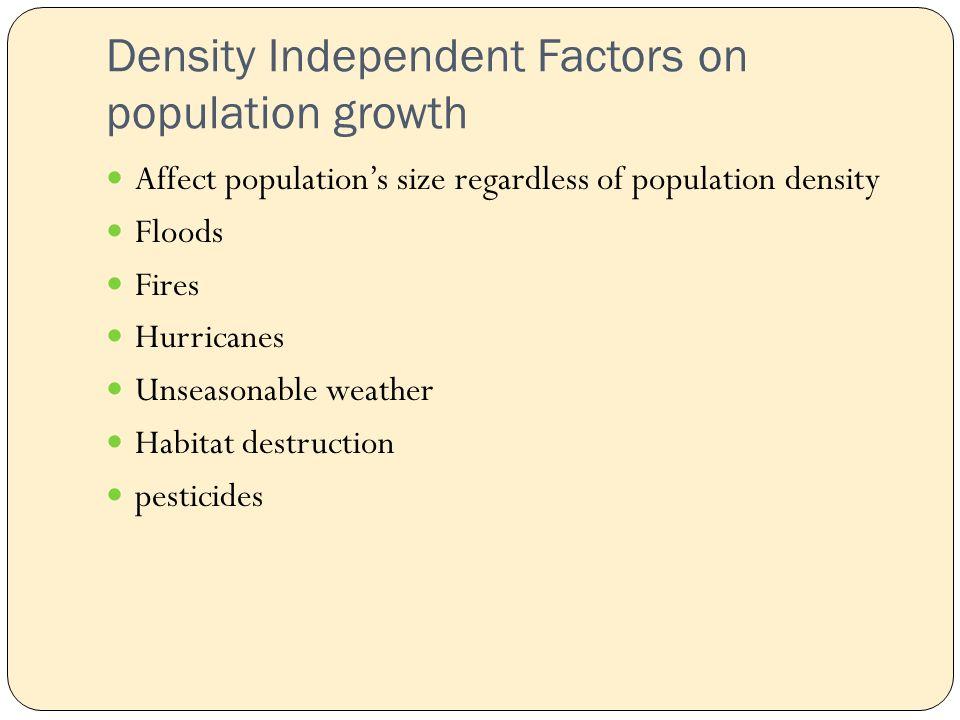Density Independent Factors on population growth Affect population's size regardless of population density Floods Fires Hurricanes Unseasonable weather Habitat destruction pesticides