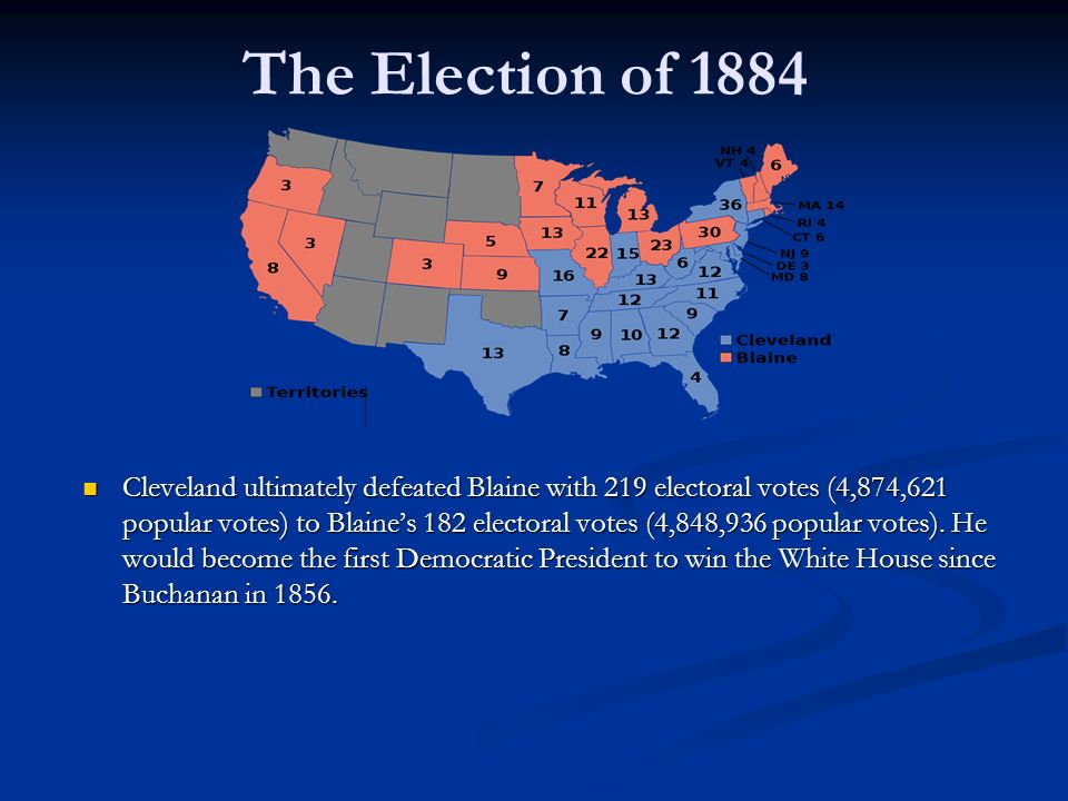 The Election of 1884 Cleveland ultimately defeated Blaine with 219 electoral votes (4,874,621 popular votes) to Blaine's 182 electoral votes (4,848,936 popular votes).