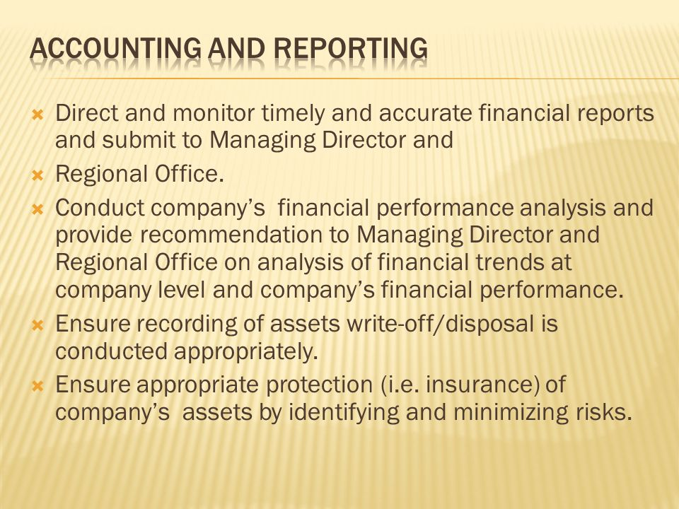 Job Description: Financial Controls & Budgeting: Perform Company'S