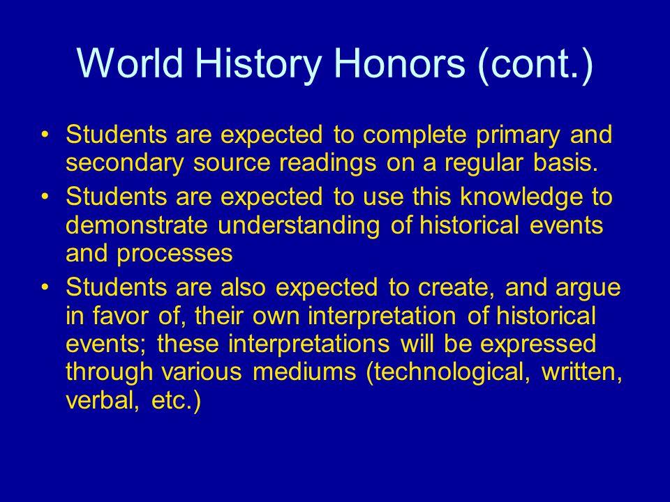 world history honors