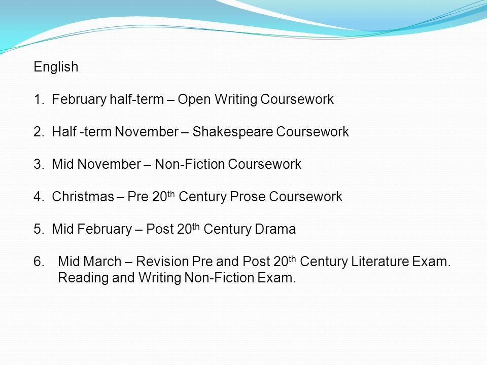 english coursework non fiction