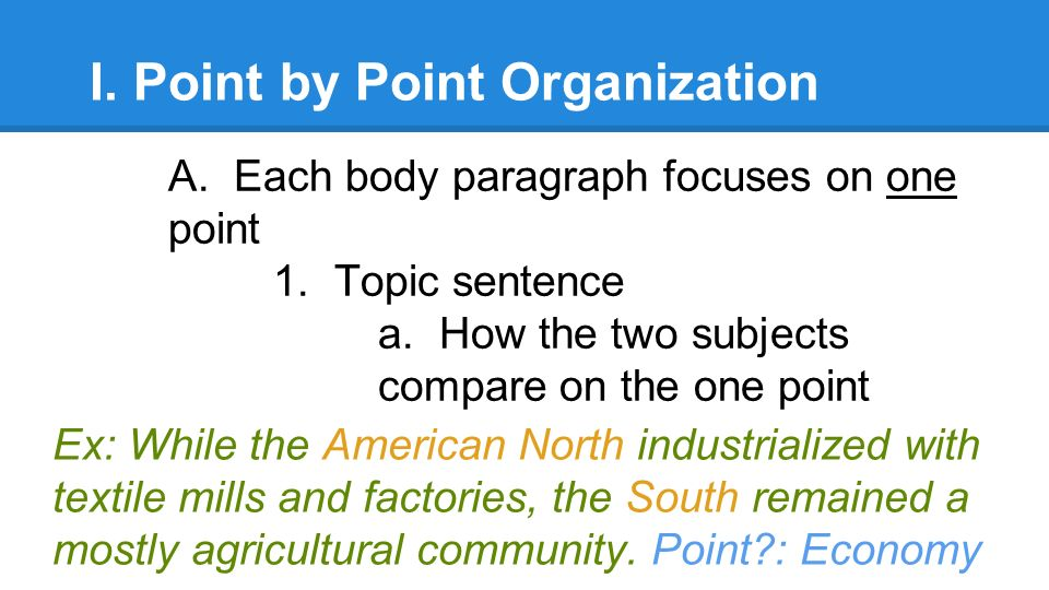 comparative essay example point by point A comparative essay asks that for example, a comparative essay using the block method on the or first half, and make clear points of comparison whenever.