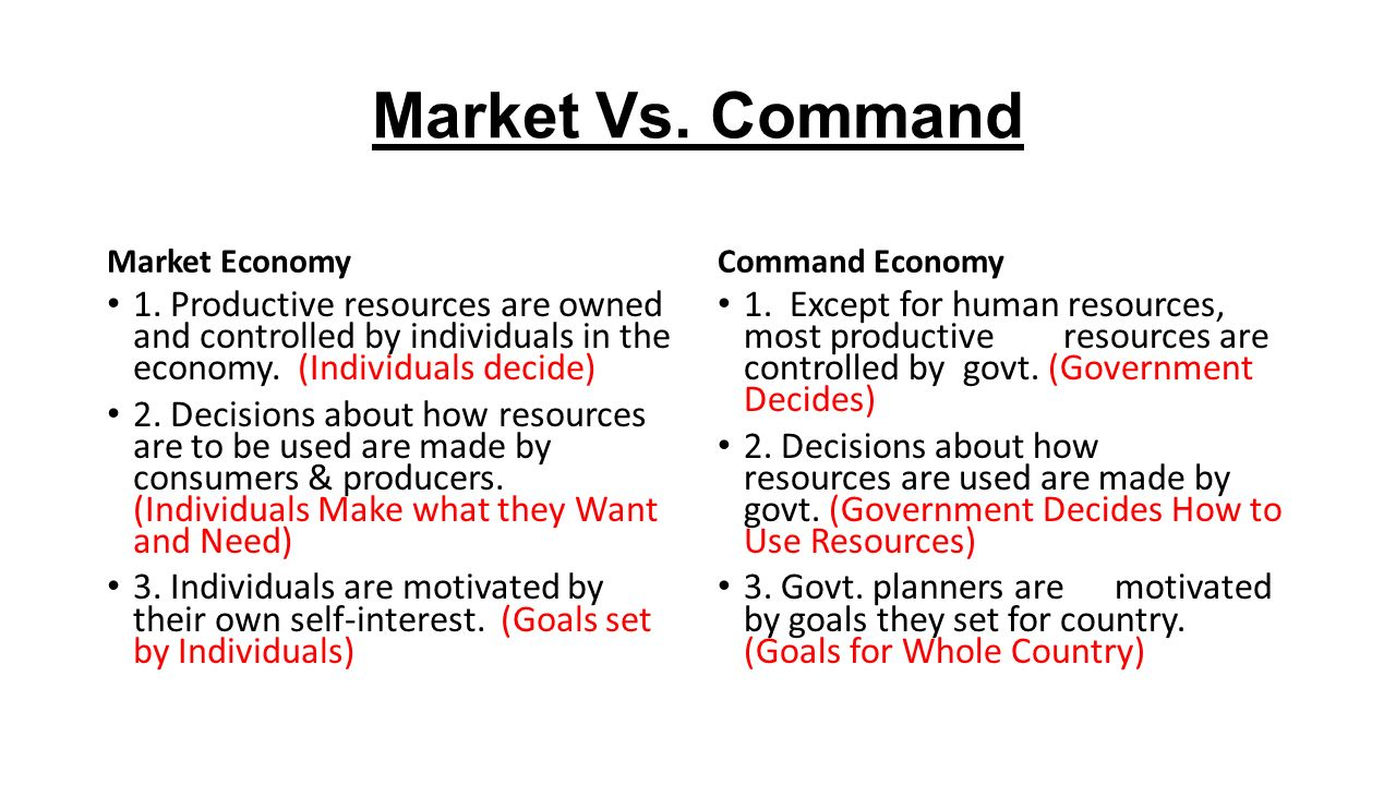 market economy and command economy Set by supply and demand, a market economy operates through a price system in a command economy, governments control the resources and determine activity.