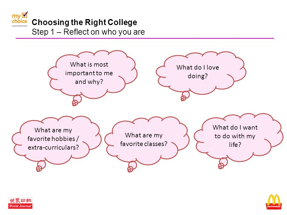 how to choose the right college to go to What do you hope to achieve during your years in college what courses and non-academic activities are available will they help you expand your horizons.