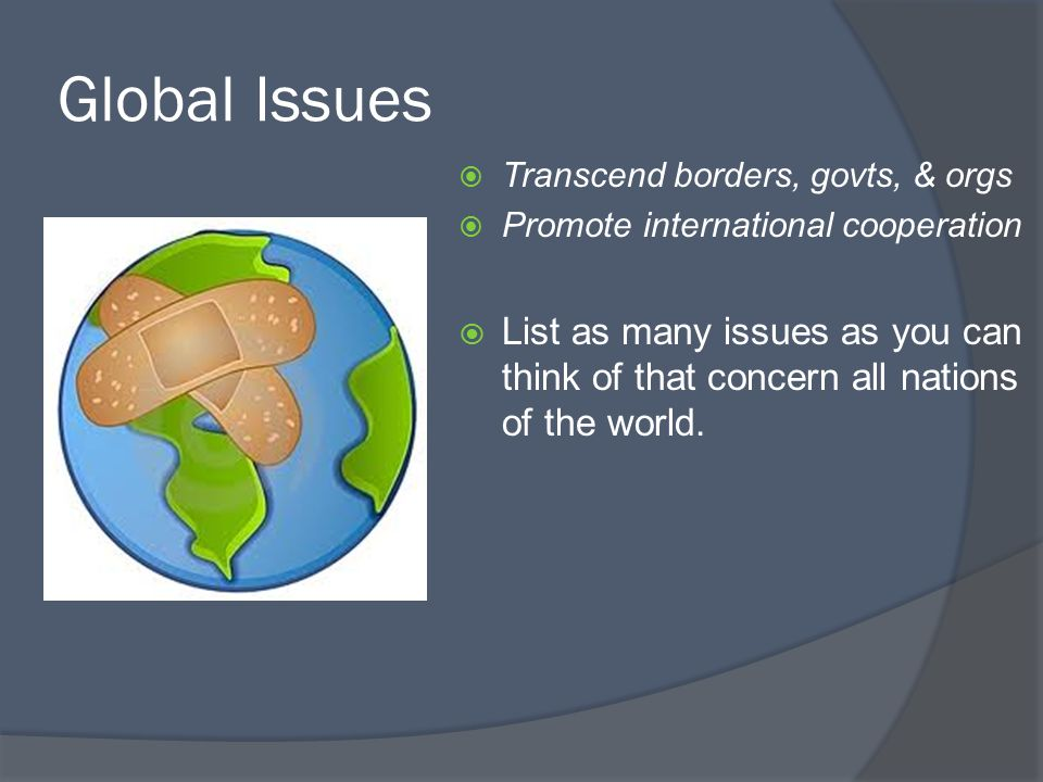 Lesson 3 objectives explain how the world is becoming more 6 global issues transcend borders govts orgs promote international cooperation list as many issues as you can think of that concern all nations sciox Gallery