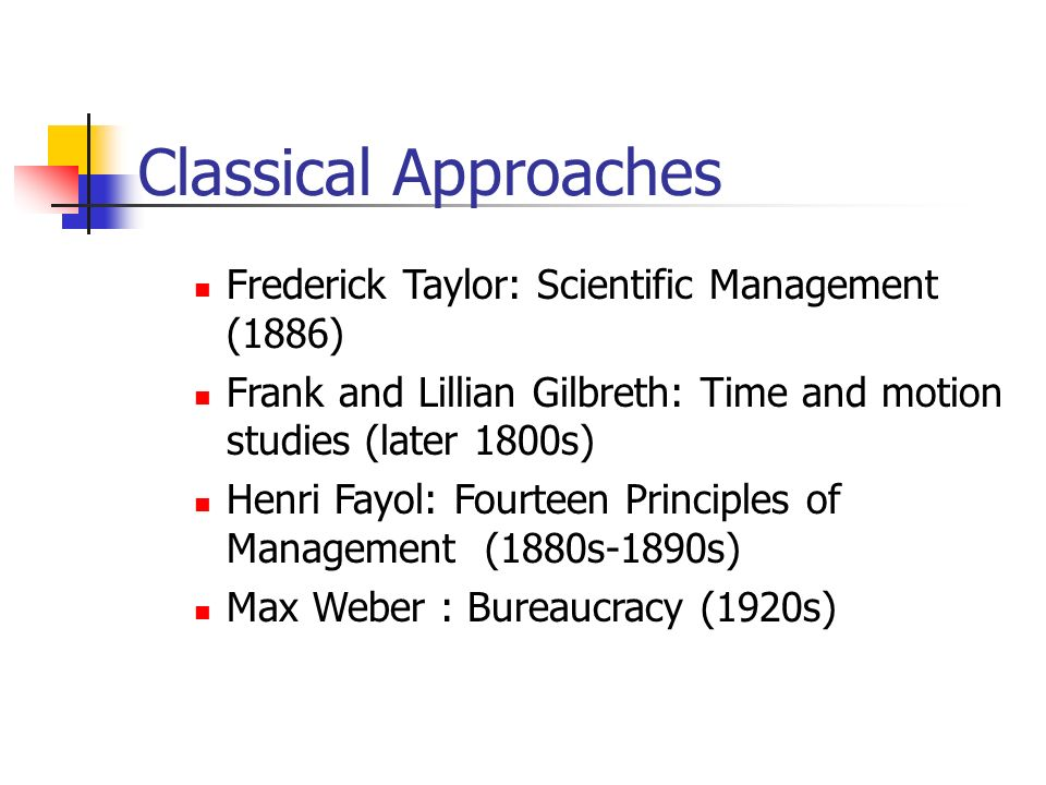 Classical Approaches Frederick Taylor: Scientific Management (1886) Frank and Lillian Gilbreth: Time and motion studies (later 1800s) Henri Fayol: Fourteen Principles of Management (1880s-1890s) Max Weber : Bureaucracy (1920s)