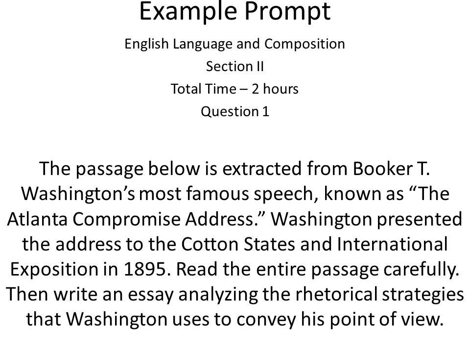 rhetorical analysys atlanta compromise by booker (1895) booker t washington, the atlanta compromise speech (1895) booker t washington, the atlanta compromise speech.