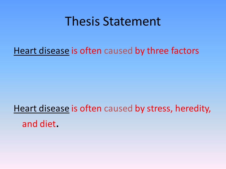 essay tips introduction it should not only state your thesis  3 thesis statement heart disease is often caused by three factors heart disease is often caused by stress heredity and diet
