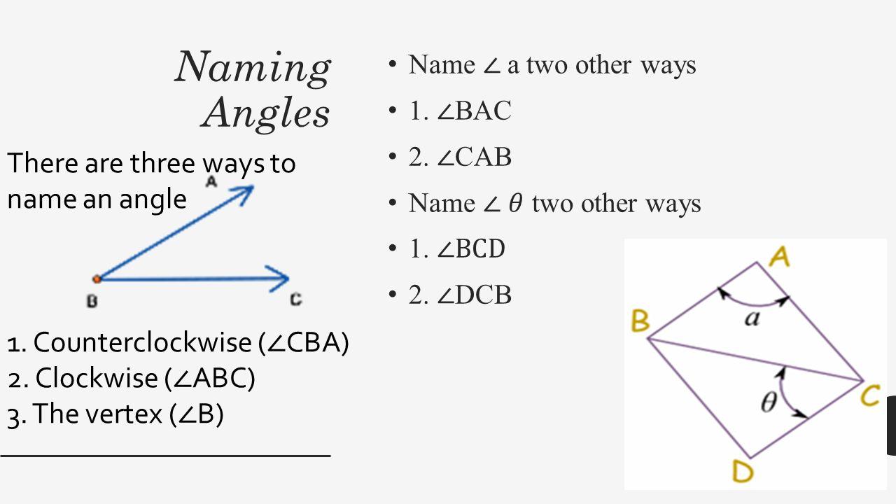 worksheet Naming Angles bellringer 1 4 measuring segments and angles postulate 5 ruler 16 naming angles