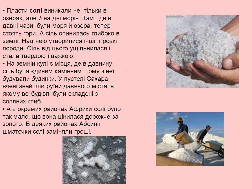 Пласти солі виникали не тільки в озерах, але й на дні морів.