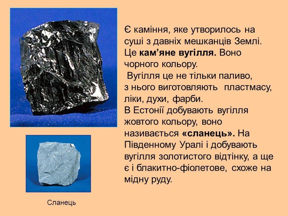 Є каміння, яке утворилось на суші з давніх мешканців Землі.