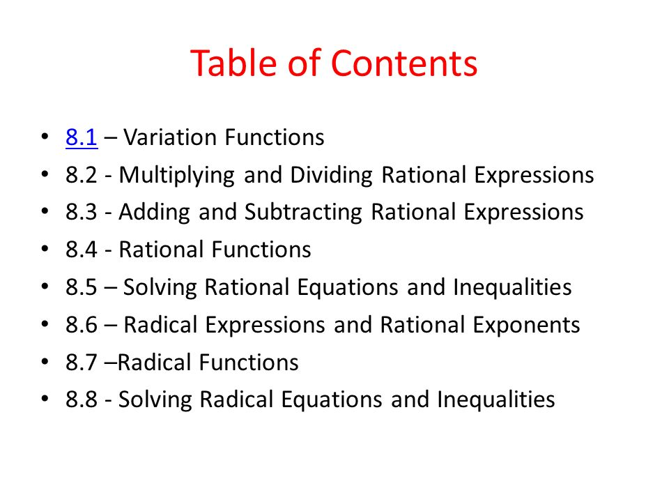Chapter 8 rational and radical functions algebra ppt download 2 table ccuart Gallery