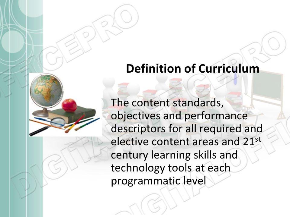 definition of curriculum
