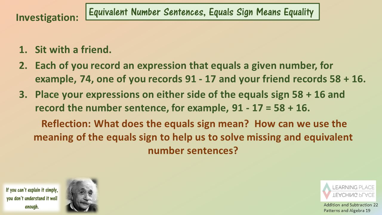 Meaning Of The Number 22 In The - Addition and subtraction 22 patterns and algebra 19 investigation 1 sit with a friend