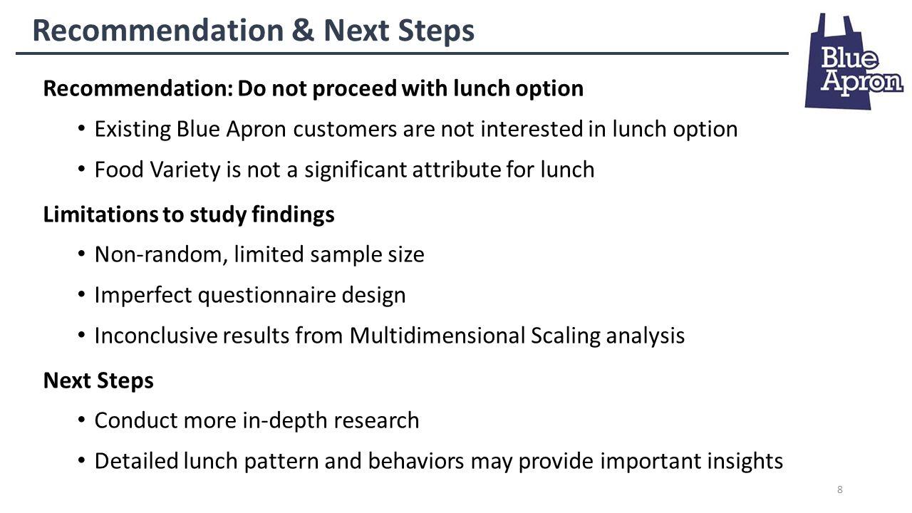 Blue apron target market - 8 8 Recommendation
