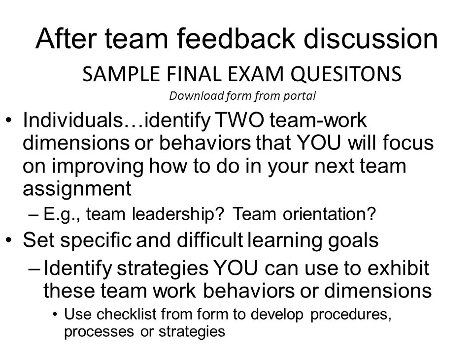 Team Feedback Reading/Lectureself Assessment Of Your And Other