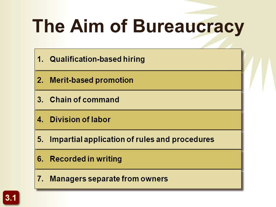 The Aim of Bureaucracy 1. Qualification-based hiring 2.