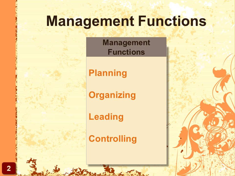 Management Functions Planning Organizing Leading Controlling Planning Organizing Leading Controlling Management Functions 2 2