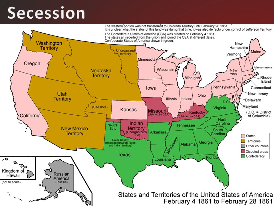 BACK To The Compromise Of For The North For The South - Secession map of us