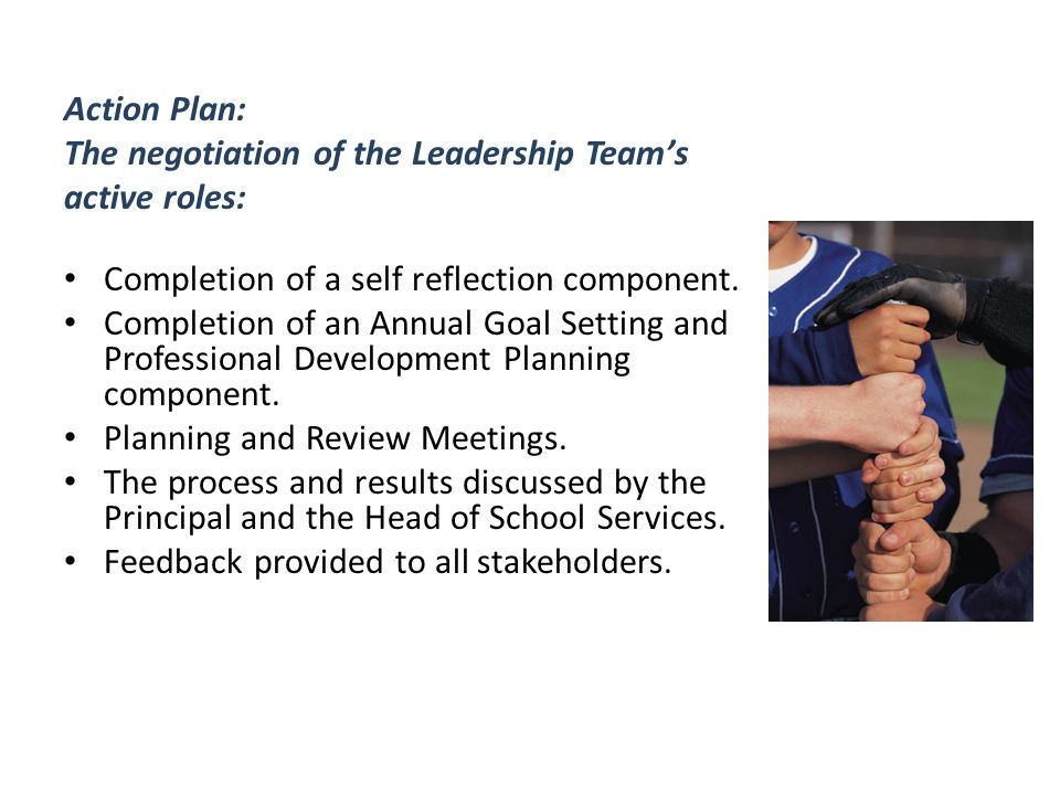Action Plan: The negotiation of the Leadership Team's active roles: Completion of a self reflection component.