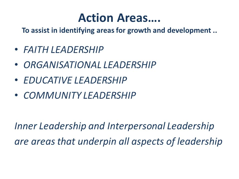 Action Areas…. To assist in identifying areas for growth and development..