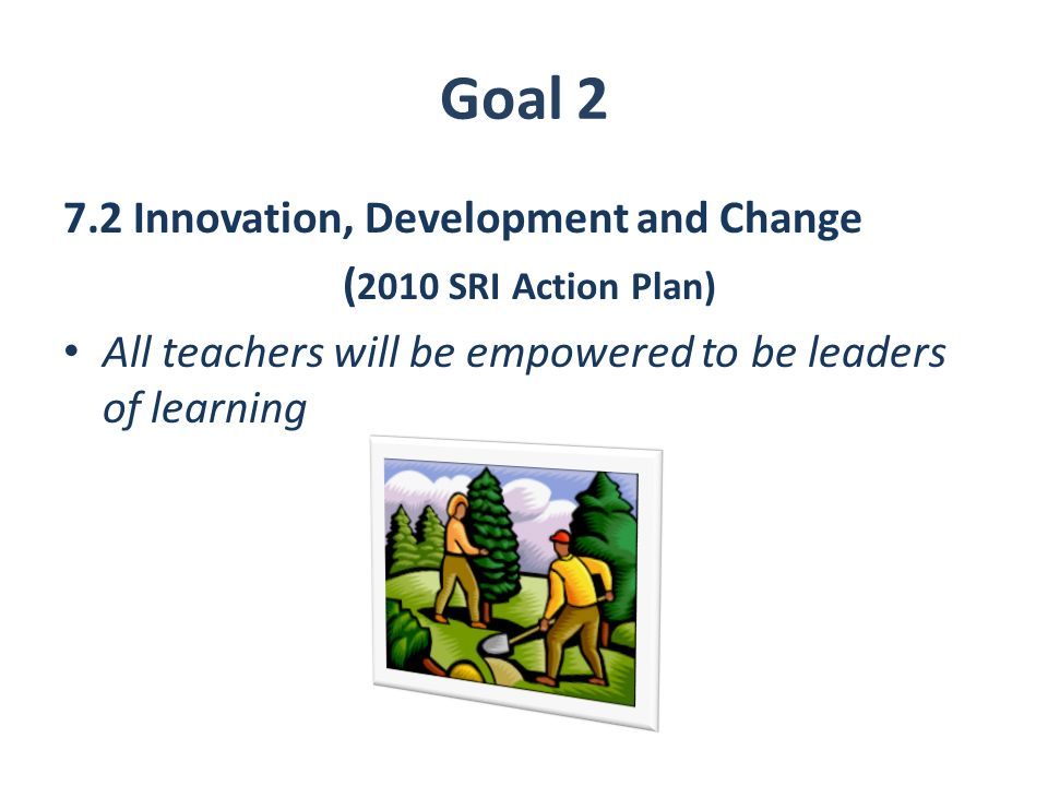 Goal 2 7.2 Innovation, Development and Change ( 2010 SRI Action Plan) All teachers will be empowered to be leaders of learning