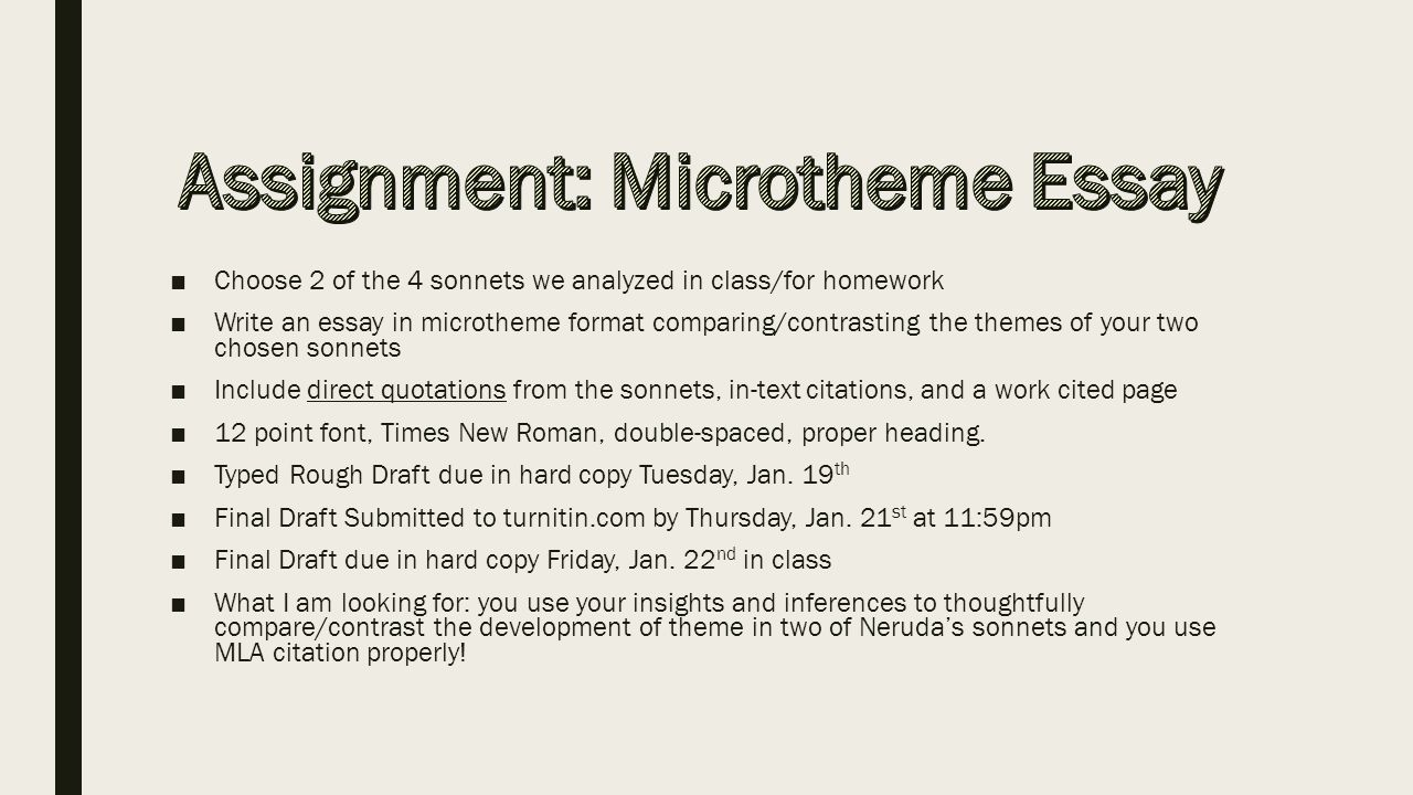 using mla to cite poetry plus microtheme format ppt 9632choose 2 of the 4 sonnets we analyzed in class for homework 9632write