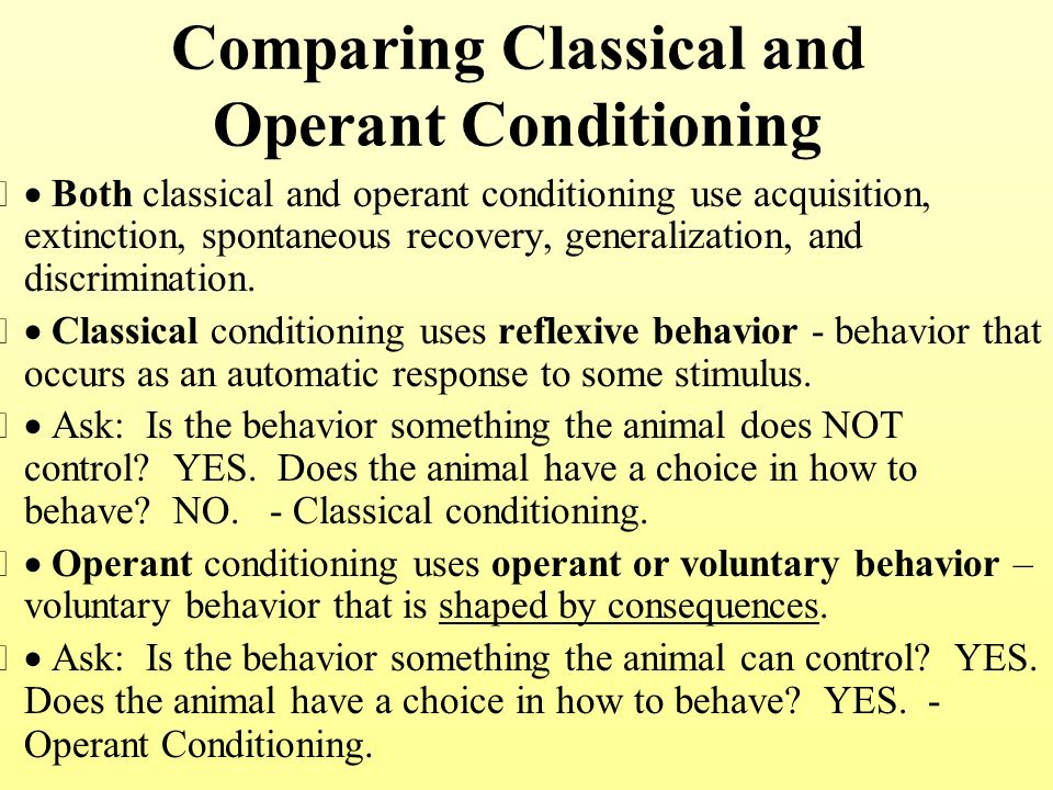 examples of classical conditioning operant conditioning View and download operant conditioning essays examples also discover topics, titles, outlines, thesis statements, and conclusions for your operant conditioning essay.