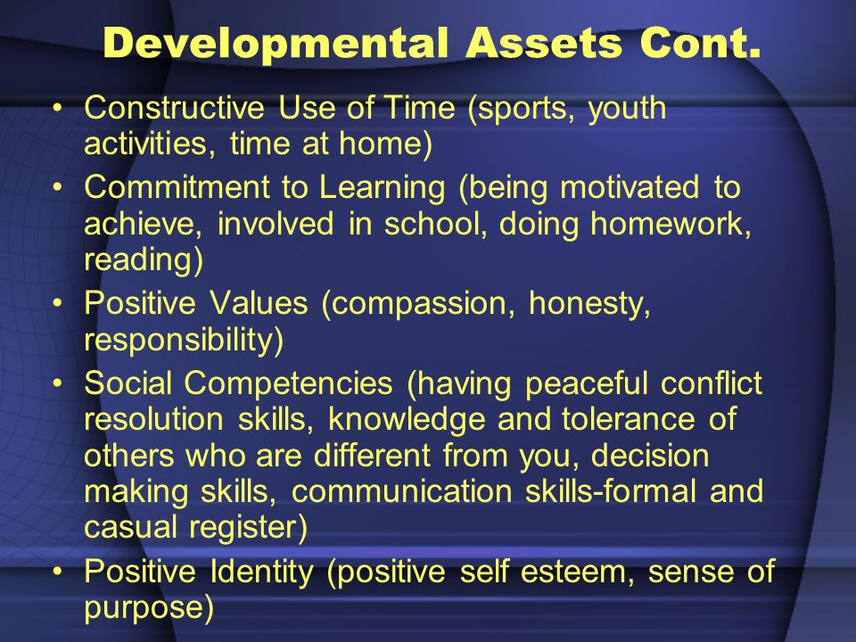 Developmental Assets Cont.