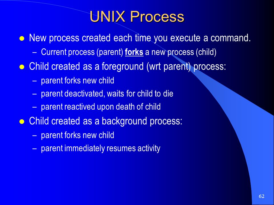 unix processes job control 10 processes before looking at the linux implementation, first a general unix description of threads, processes about job control, like bash, the processes of.