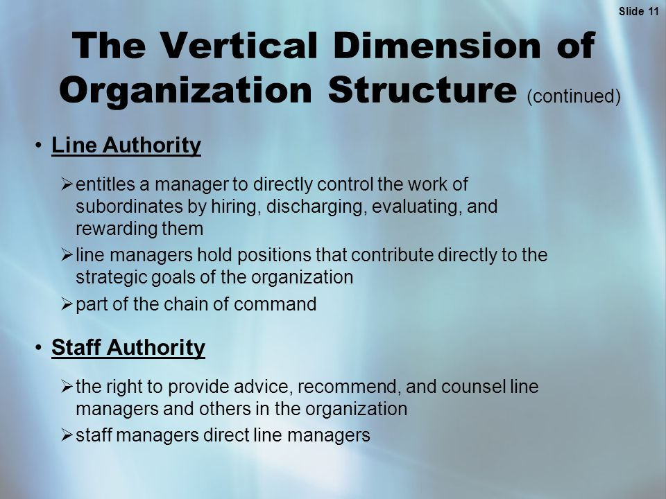 Slide 11 The Vertical Dimension of Organization Structure (continued) Line Authority  entitles a manager to directly control the work of subordinates