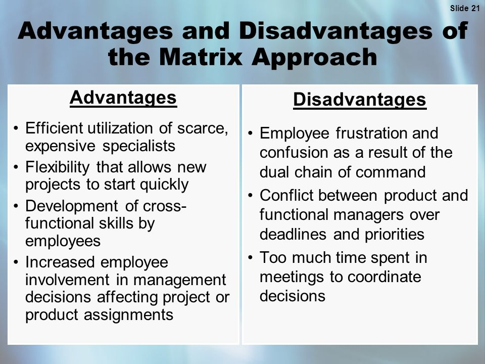 Slide 21 Advantages and Disadvantages of the Matrix Approach Advantages Efficient utilization of scarce, expensive specialists Flexibility that allows new projects to start quickly Development of cross- functional skills by employees Increased employee involvement in management decisions affecting project or product assignments Disadvantages Employee frustration and confusion as a result of the dual chain of command Conflict between product and functional managers over deadlines and priorities Too much time spent in meetings to coordinate decisions