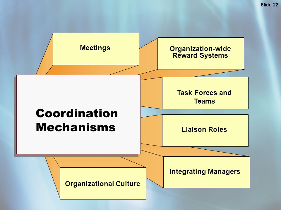 Slide 22 Meetings Organization-wide Reward Systems Task Forces and Teams Liaison Roles Integrating Managers Organizational Culture Coordination Mechanisms