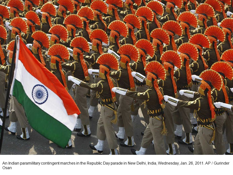 An Indian army contingent of the Sikh Light Infantry Regiment marches in the Republic Day parade in New Delhi, India, Wednesday, Jan.