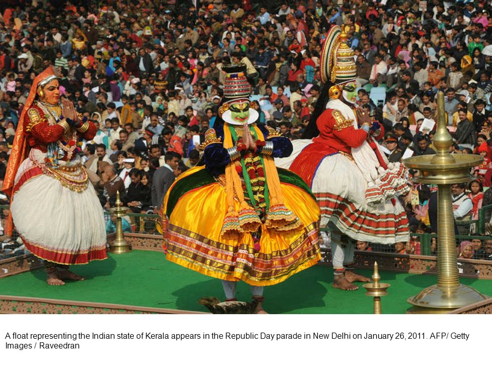 Indian schoolchildren perform during the Republic Day parade in New Delhi on January 26, 2011.