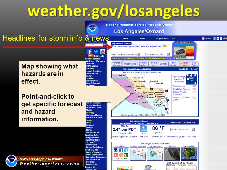 NWS Los AngelesOxnard Weathergovlosangeles Eric Boldt Warning - Us weather gov map