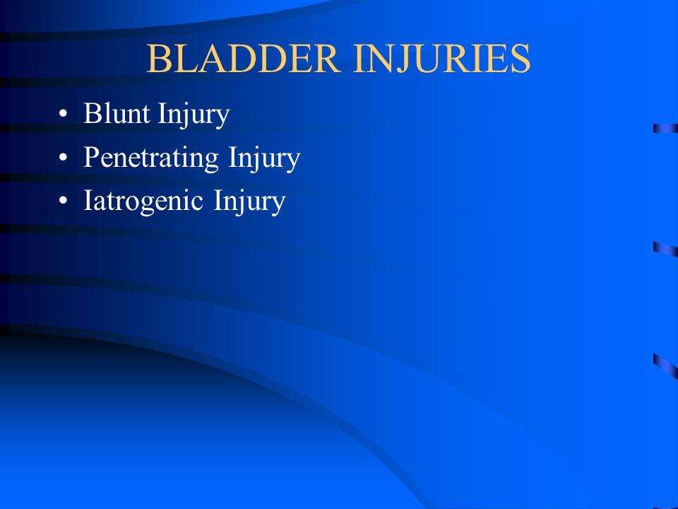 BLADDER INJURIES Blunt Injury Penetrating Injury Iatrogenic Injury
