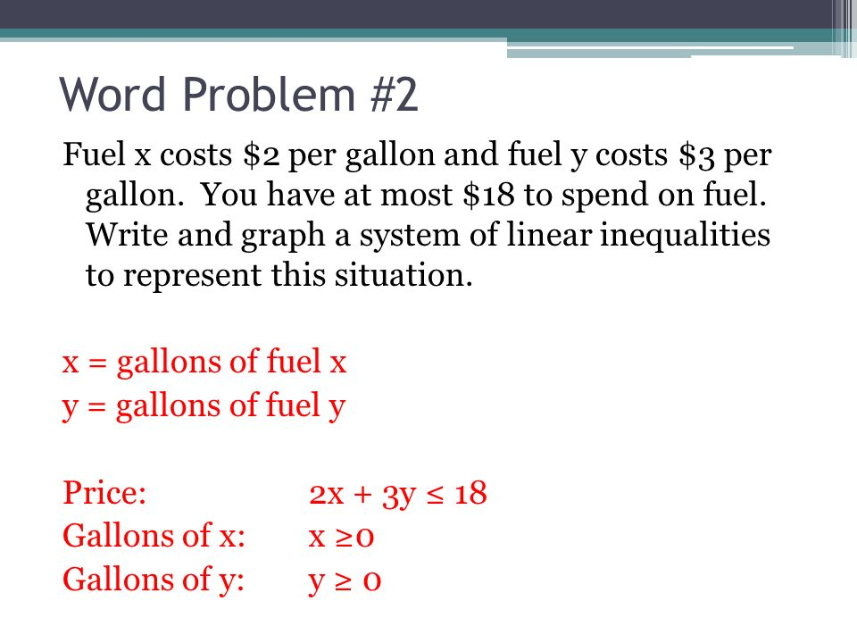 76 Systems Of Linear Inequalities Word Problems Use A System Of
