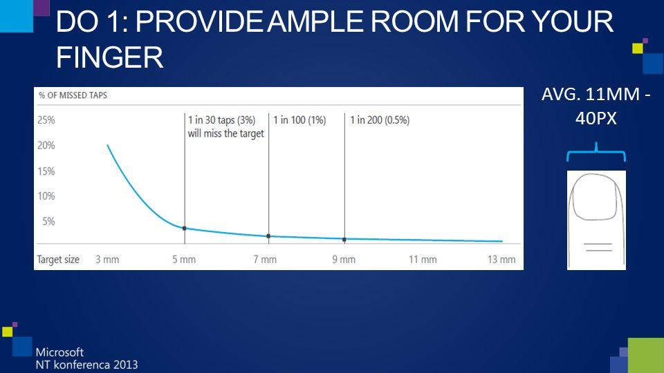 DO 1: PROVIDE AMPLE ROOM FOR YOUR FINGER AVG. 11MM - 40PX