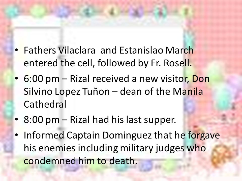 Fathers Vilaclara and Estanislao March entered the cell, followed by Fr.