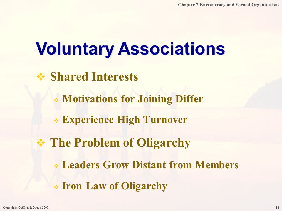 Chapter 7:Bureaucracy and Formal Organizations Copyright © Allyn & Bacon 200714  Shared Interests  Motivations for Joining Differ  Experience High Turnover  The Problem of Oligarchy  Leaders Grow Distant from Members  Iron Law of Oligarchy Voluntary Associations