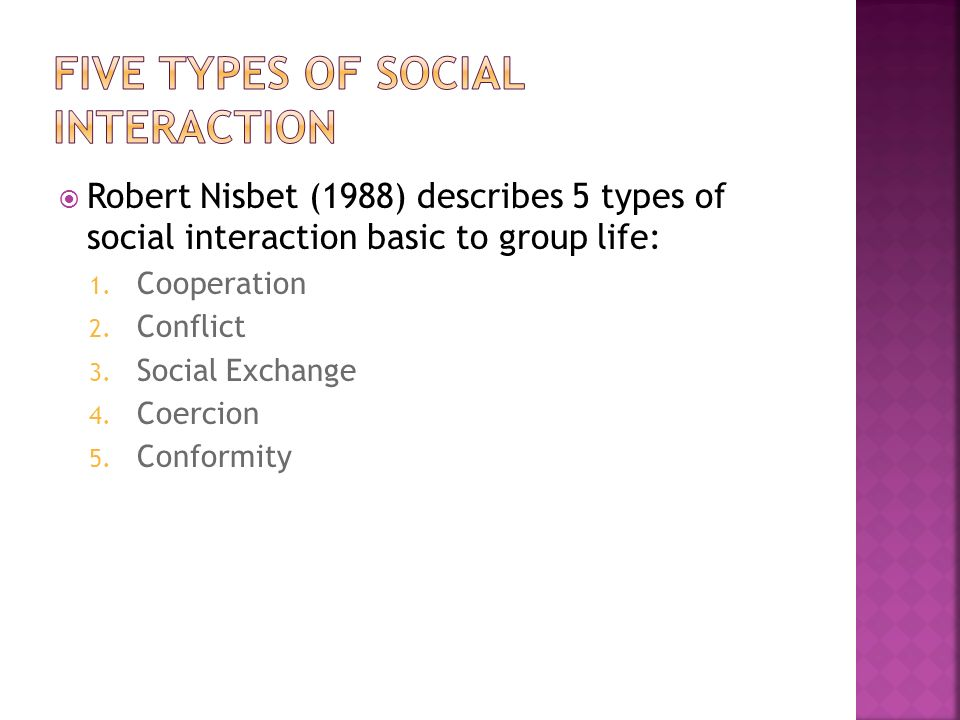 Robert Nisbet (1988) describes 5 types of social interaction basic to group life: 1.