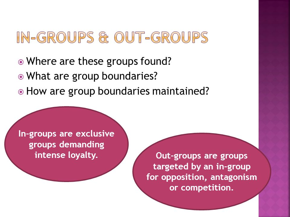  Where are these groups found.  What are group boundaries.