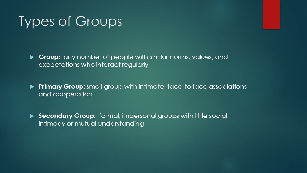 Types of Groups I n-groups : any group or categories to which people feel they belong Out-groups : any group or categories to which people feel that they do not belong Conflict between in-groups and out-groups can turn violent on a personal as well as political level.